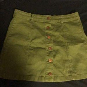 Button Front Green Skirt